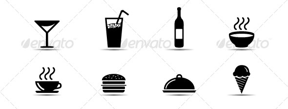 Set-simple-black-and-white-food-icons