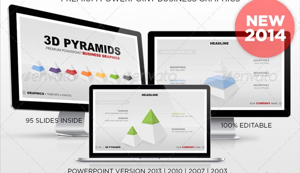 3D Pyramids Powerpoint Business Graphics