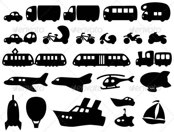 Cute Transportation Icons