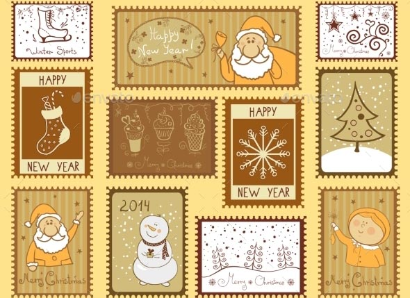 Postal Stamps with Christmas Illustrations