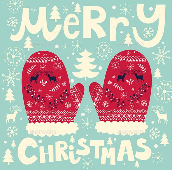 illustration with Christmas mittens