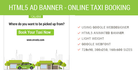 Book Online Taxi HTML5 Animated AD