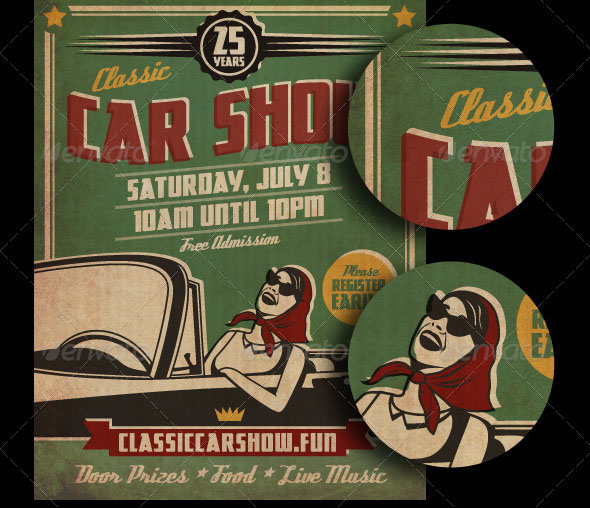 Cool Car Poster Design PSDs Design Freebies - Classic car show poster template