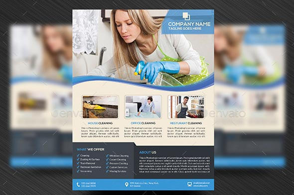 9 Nice Cleaning Service Flyer Brochure Templates Design Freebies
