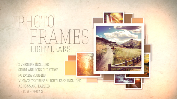 Dynamic Squares Photo Frames with Light Leaks