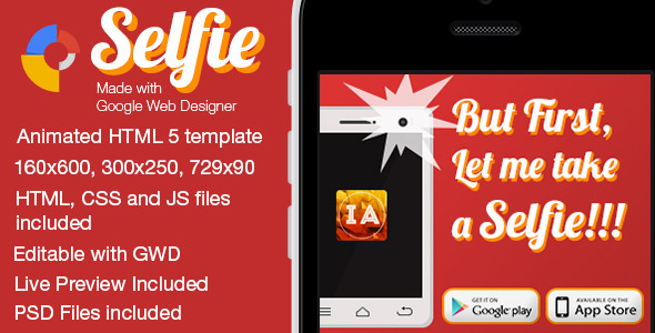 Selfie Animated Mobile App Banner Templates
