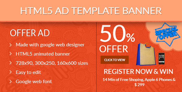 Zion HTML5 ad template banner