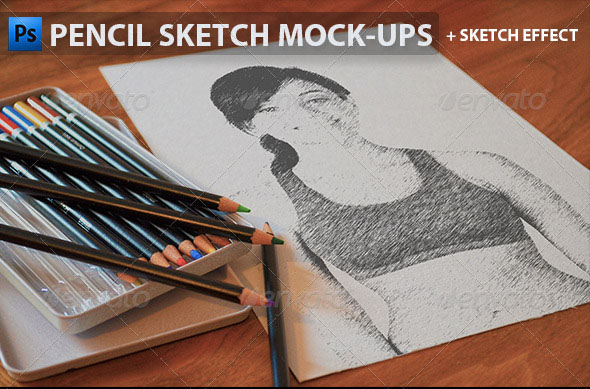pencil sketch photo effect mockup psd