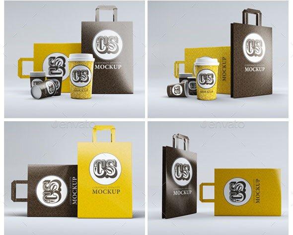 Branding Identity Coffee Cup Bag Mockup