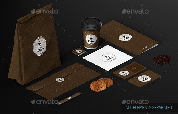 Cafe Branding Identity Coffee cup Mock-Up