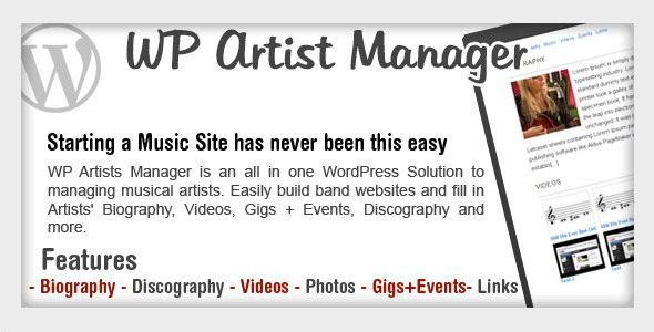 WordPress Artist Band Manager