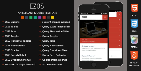 Ezos Mobile Retina HTML5 CSS3 And iWebApp