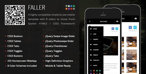 Faller Mobile Retina HTML5 CSS3 with WebApp
