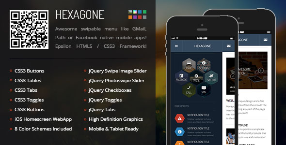 Hexagone Mobile Retina HTML5 CSS3 with WebApp