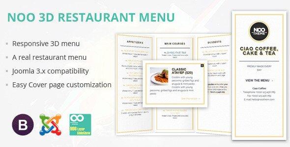 Noo 3D Responsive Restaurant Menu