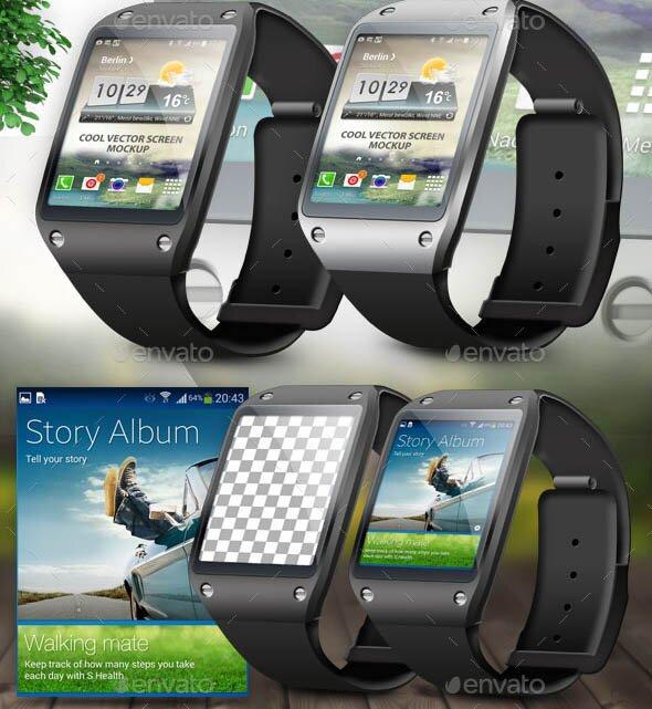 Smart Watch Phone Vector Mockup