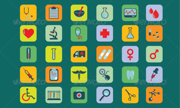 30 Medical and Health Icons Set