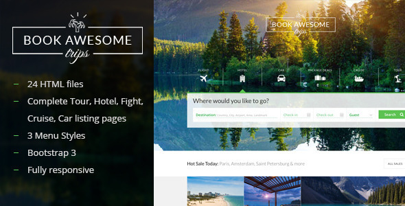 Book Awesome Trip Travel Booking Site Template