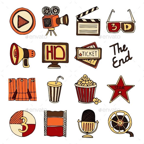 Cinema Vintage Icons Set