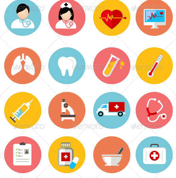 Medical And Health Flat Icons Set