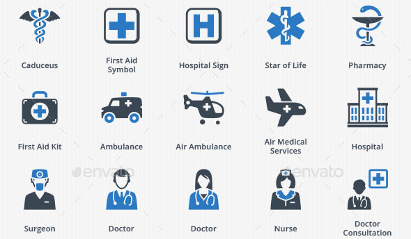 Medical Health Care Icons Blue Series