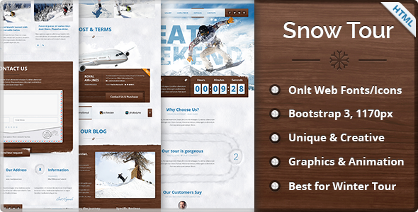 Snow Tour Responsive Winter Travel HTML Template
