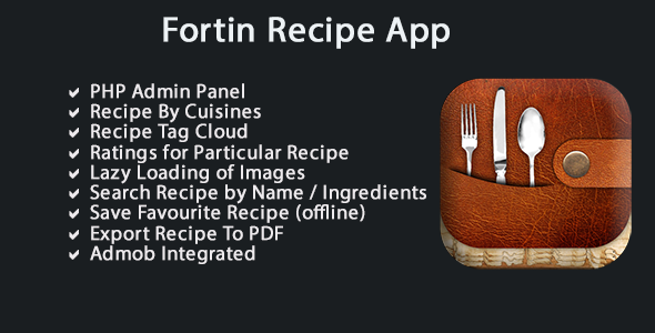 Fortin Recipes App with PHP Admin Panel