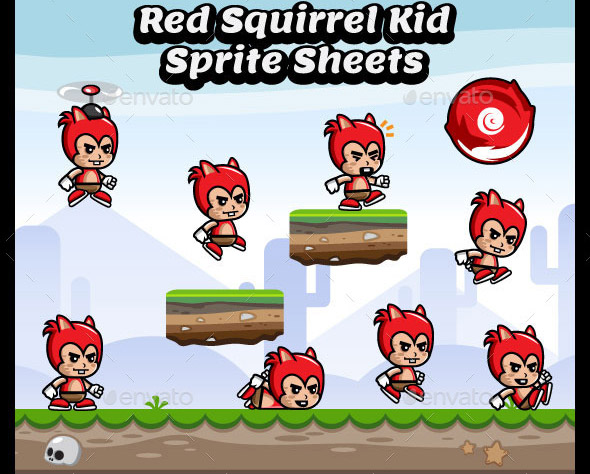 Red Squirrel Kid Game Character Sprite Sheets