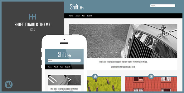 Shift A Responsive Masonry Tumblr Theme