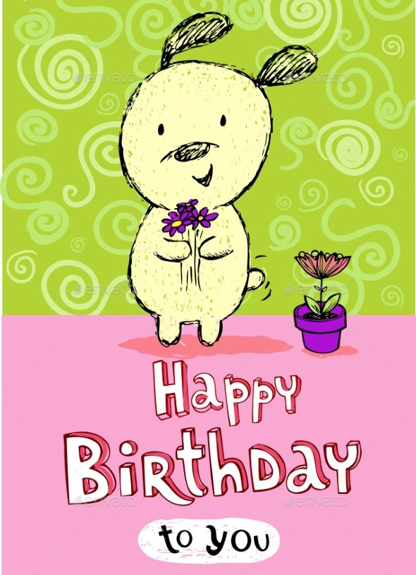 Birthday Greeting Card with Puppy