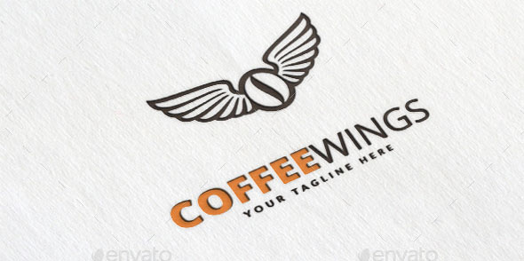 Coffee Wings Logo Template