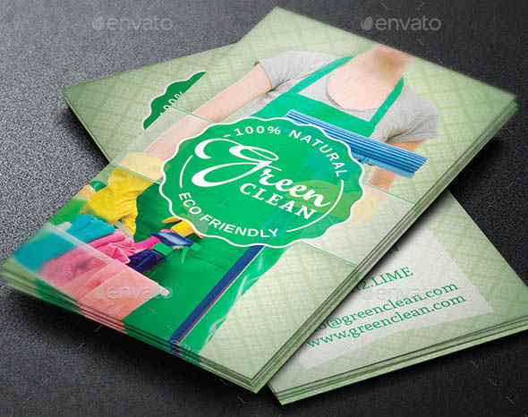 17 beautiful cleaning service business card templates design freebies green cleaning service business card template accmission Images