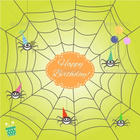 Greeting Card with Cartoon Spider