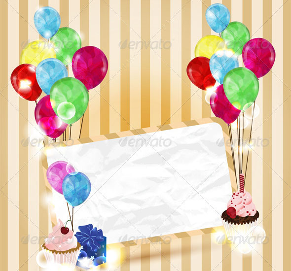 Greeting Card with Colorful Balloons