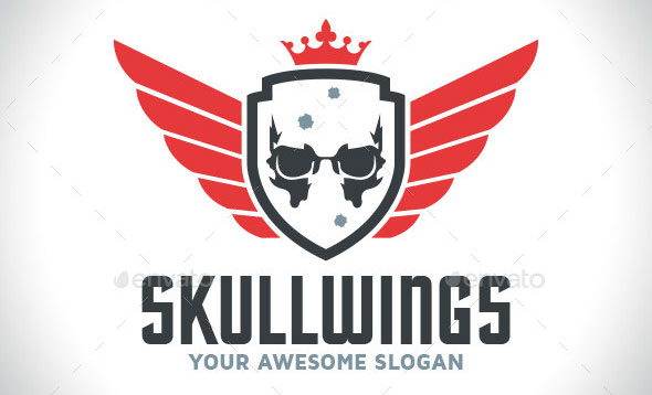 Skull Wings Logo Template