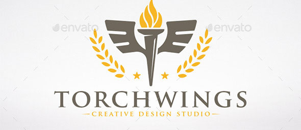 Torch Wings Logo Template
