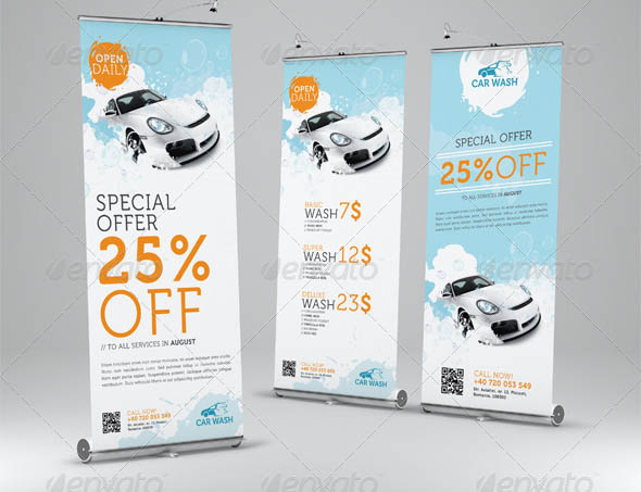 Car Wash Roll-Up Banner