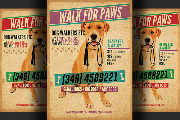 Dog Walkers Flyer Template 2