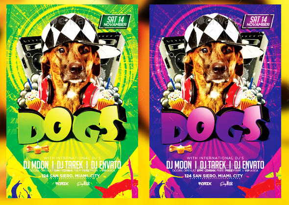 Dogs Party Flyer Template v2