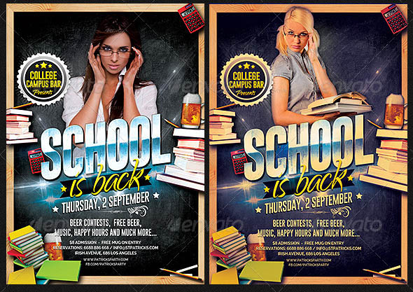 School is Back Party Flyer