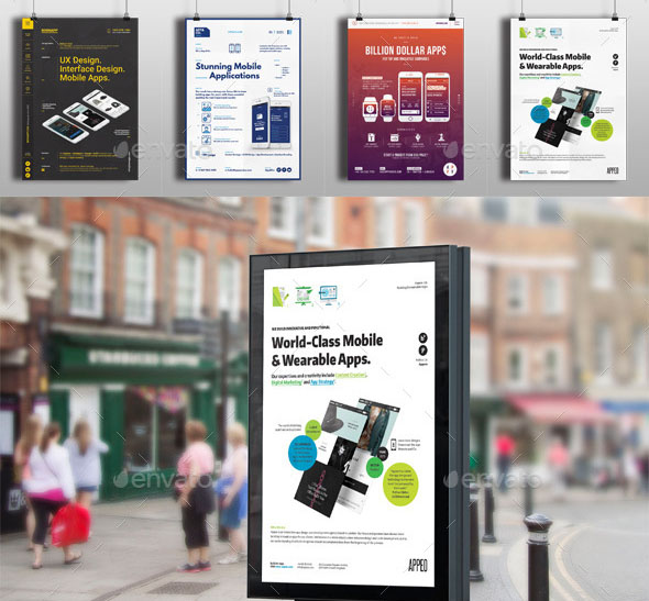 4 Mobile Apps Flyers Posters