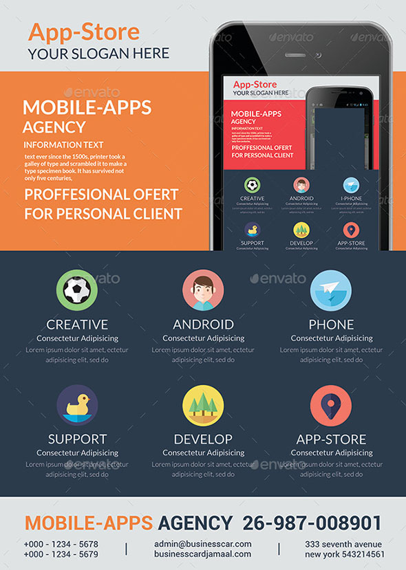 21 Cool Mobile App Flyer Templates Design Freebies