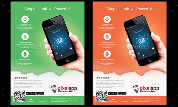 Mobile App Flyers with iPhone Android Mockup