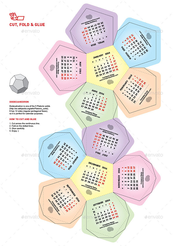 Calendar 2016 Dodecahedron
