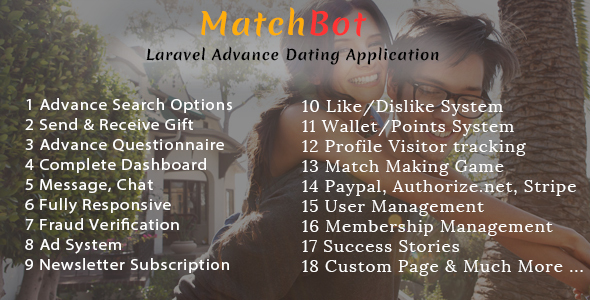 MatchBot Laravel Advance Dating Application