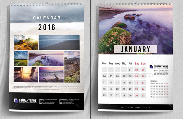 Corporate Calendar Design 2016 : Nice calendar indesign templates design freebies