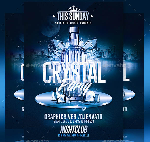 Crystal Bottle Party Psd Flyer Template