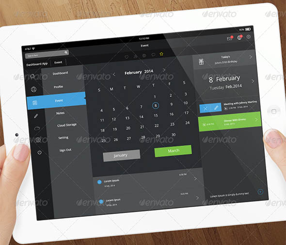 Flat Tablet and Pad App Dashboard