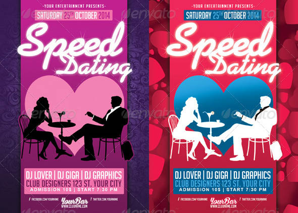 Speed Dating Love Valentines PSD Flyer Template