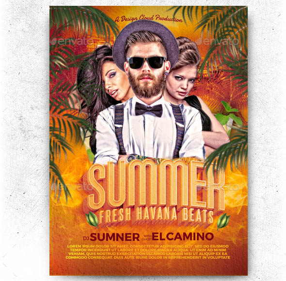 Summer DJ Fresh Havana Beats Flyer Template